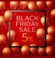 red balloons with black friday sale fiven vector image vector image