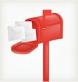 Red classic mailbox with mail vector image vector image