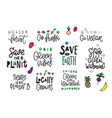 save the planet earth vegan print quote lettering vector image vector image