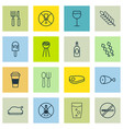 set of 16 eating icons includes chicken fry no vector image