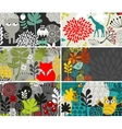 Set of horizontal cards with birds and animals vector image vector image