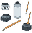 set of ink brush and dip pen vector image vector image