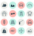 shipping icons set with navigation sail ship car vector image vector image