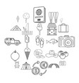 shore icons set outline style vector image vector image
