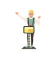 smiling man taking part at quiz show player vector image vector image