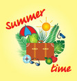 summer time banner design with a suitcase vector image