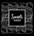sweets shop square banner with baked desserts in vector image vector image