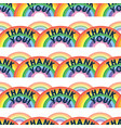 thank you text and rainbows pattern key workers vector image vector image