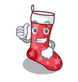 thumbs up cartoon christmas socks for gifts vector image