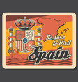 travel to spain retro poster with map and crown vector image vector image