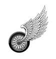 winged wheel motorcycle bike rally symbol vector image