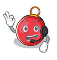 with headphone christmas ball character cartoon vector image