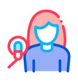 woman with microphone icon outline vector image vector image