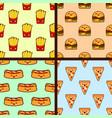 set of fast food seamless patterns kawaii vector image
