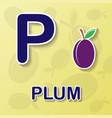 plum alphabet background vector image