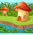 a waterlily in front of a mushroom house vector image vector image