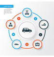 automobile icons set collection of plug vector image vector image
