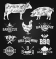 bbq emblems and logos chalk drawing vector image