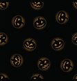 black halloween pumpkin with orange backlit vector image