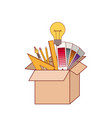 cardboard box with graph design tools creative in vector image