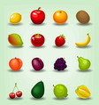 cartoon realistic fruit cherry apple game icon vector image vector image