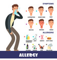 cartoon stye allergy infographics with vector image vector image