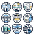 cleaning laundry housework icons wash service vector image vector image