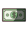 colorful silhouette of dollar bill with thick vector image vector image