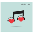 Creative music note sign icon and silhouette heart vector image