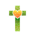cross of jesus and heart mosaic vector image vector image