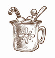 cup of warm chocolate with marshmallow and candy vector image