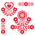 cute polish floral folk art design elements vector image