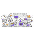 e-commerce online shopping flat line art vector image vector image