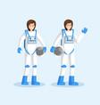 female cosmonauts in spacesuits flat vector image vector image
