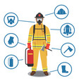 firefighter gear equipment and tools vector image vector image