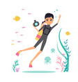 flat design character deep-sea diver with vector image vector image
