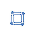 four hands togetherassistance line icon concept vector image vector image
