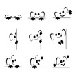 Funny emoticons with ears and paws with different vector image