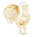 golden rooster on white vector image vector image