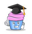 graduation cupcake character cartoon style vector image vector image