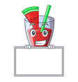 grinning with board character tasty beverage fruit vector image vector image