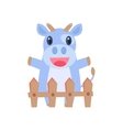 Happy Cow Behind Wooden Shed vector image vector image