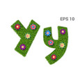 letter yy with a texture of grass and flowers vector image vector image