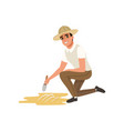 man sitting on one knee and sweeping dirt from vector image