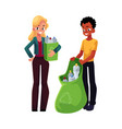 man woman collect plastic bottles in garbage bag vector image vector image