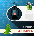 Merry Christmas Card with Xmas Tree Gas Lamp and vector image vector image