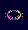 microchip isometric icon central processing unit vector image vector image