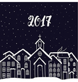 New Year and Christmas card with houses in vector image vector image
