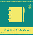 notebook address phone book with pen symbol icon vector image vector image