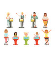 people taking part at quiz show set players vector image